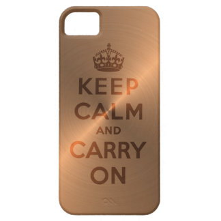 銅のKeep Calm and Carry On iPhone SE/5/5s ケース