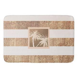 銅及びクリームの熱帯ヤシの木の輝きの上品 バスマット