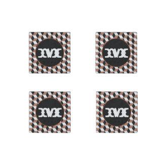 銅、黒く及び白い3Dはパターンを立方体にします ストーンマグネット