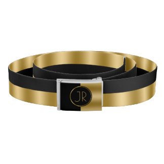 鋭い黒及び金ゴールドの幾何学的設計 ベルト