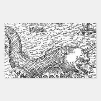 鋸歯の鮫の地図モンスター 長方形シール