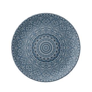 """鋼色のブロケード8.5""""装飾的な磁器皿 磁器プレート"""