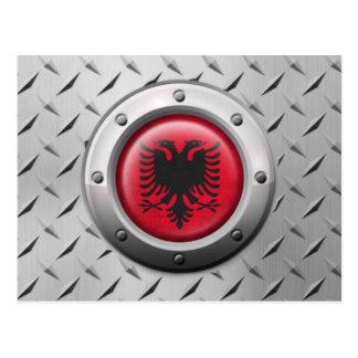 鋼鉄グラフィックが付いている産業アルバニアの旗 ポストカード