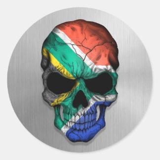 鋼鉄スカルのグラフィックの南アフリカ共和国の旗 ラウンドシール