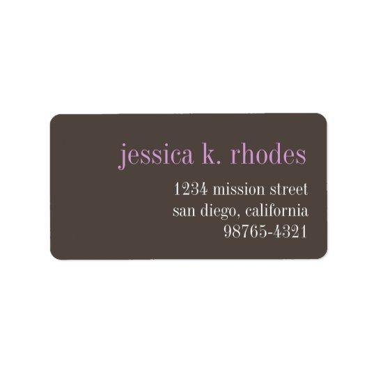鋼鉄灰色の薄紫のタイポグラフィのモダンの差出人住所 ラベル