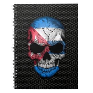 鋼鉄網のグラフィックのキューバの旗のスカル ノートブック