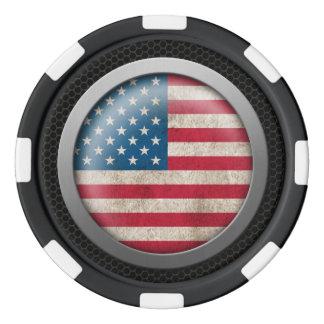 鋼鉄網の米国旗ディスクグラフィック ポーカーチップ