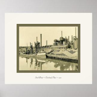 鋼鉄Plant~ClevelandのOhio~1901~のヴィンテージの写真 ポスター