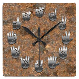 錆ついた手話- スクエア壁時計