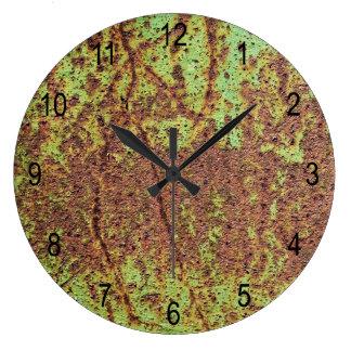 錆ついた緑の一見 ラージ壁時計
