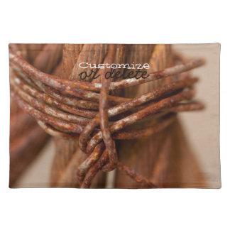 錆つかせたワイヤーが付いている編みこみの鎖; カスタマイズ可能 ランチョンマット