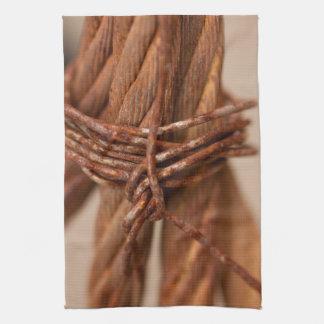 錆つかせたワイヤーが付いている編みこみの鎖 キッチンタオル