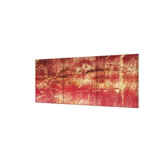錆つかせた金ゴールドおよび赤の抽象的な景色のキャンバス キャンバスプリント