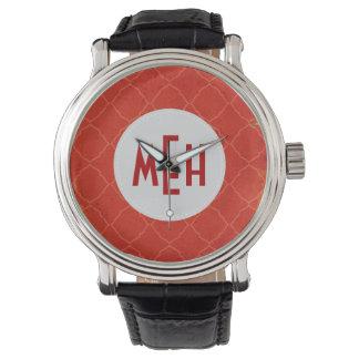 錆のクローバーのモノグラムのヴィンテージ革紐の腕時計 腕時計