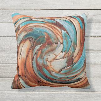 錆Nの青い抽象美術の屋外の枕 クッション
