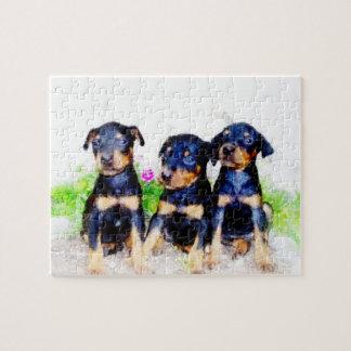 錫が付いている(犬)ドーベルマン・ピンシェルの子犬のパズル ジグソーパズル