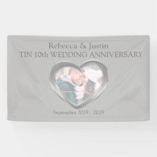 錫の結婚記念日のハートの写真の旗 横断幕