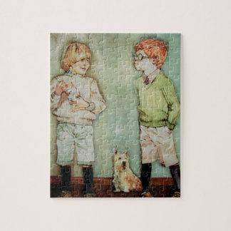 錫を持つ2人の若い男の子パズルかジグソーパズル ジグソーパズル