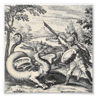 錬金術のドラゴンによっては剣闘士が戦います フォトプリント