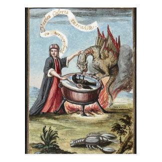 錬金術の大がまの手品師そしてドラゴン ポストカード