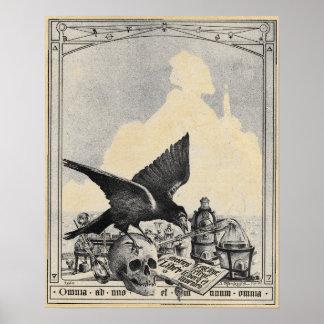 錬金術の実験室およびスフィンクスのセピア色 ポスター