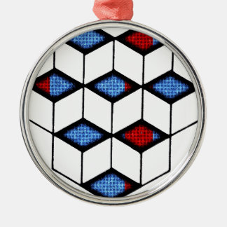錯覚のブロック シルバーカラー丸型オーナメント