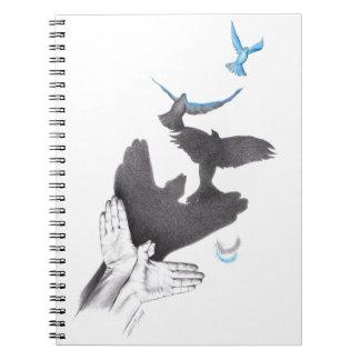 錯覚手の影の鳥の螺線形ノート ノートブック