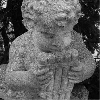 鍋のフルートを持つ男の子 写真彫刻(台付き)
