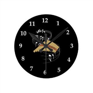 鍋のフルート ラウンド壁時計