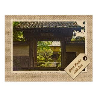 鎌倉日本Kencho-jiの寺院のヴィンテージの紙 ポストカード