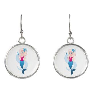 鏡および波の絵を含む小さい人魚 イヤリング