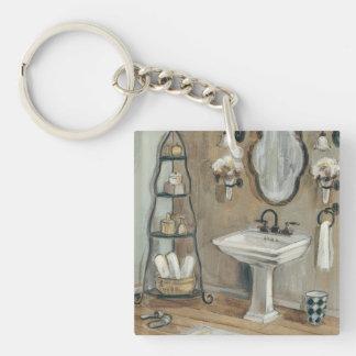 鏡および流しが付いているフランスのな浴室 キーホルダー