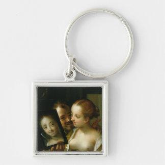 鏡が付いている笑うカップル、1596年 キーホルダー