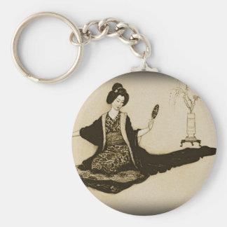 鏡によって見ているヴィンテージのセピア色の日本のな芸者 キーホルダー