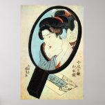 鏡の中の女、鏡の国貞の女性、Kunisada ポスター