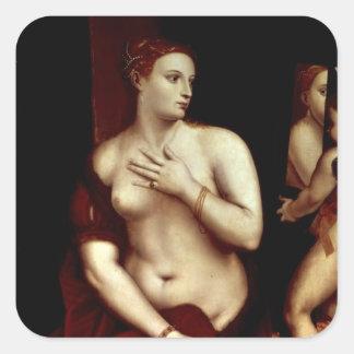 鏡の前の金星 正方形シール・ステッカー