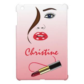 鏡のiPad Miniケースの顔そして口紅 iPad Mini カバー