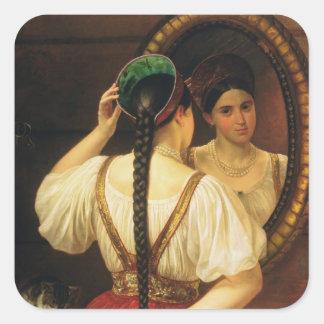 鏡1848年の女の子 スクエアシール