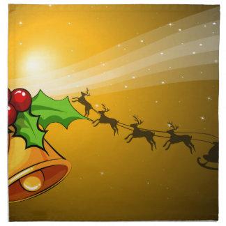 鐘が付いているクリスマスカードおよび手綱が付いているそり ナプキンクロス
