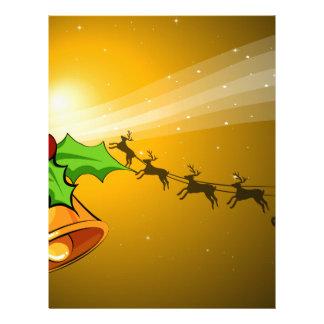 鐘が付いているクリスマスカードおよび手綱が付いているそり レターヘッド