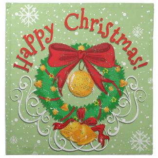 鐘が付いている楽しいクリスマスポスター ナプキンクロス