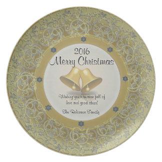 鐘が付いている金ゴールドのグリッターのクリスマスのプレート プレート
