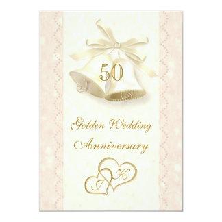 鐘のハート第50の結婚記念日の招待状 カード