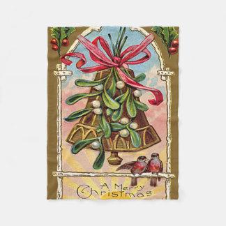 鐘のヤドリギのヒイラギのクリスマスの鳥 フリースブランケット