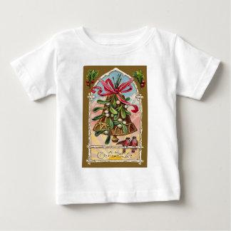 鐘のヤドリギのヒイラギのクリスマスの鳥 ベビーTシャツ