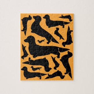 長い毛のダックスフントのパズル ジグソーパズル