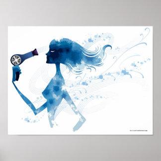 長い毛をブロードライする女性の側面図 ポスター