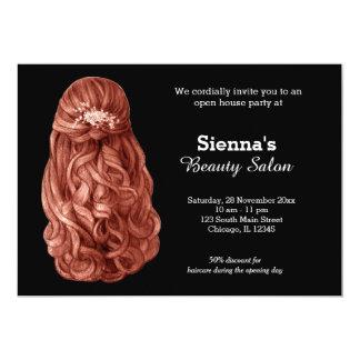 長い毛|の美容師|の美容院|のサロン 12.7 X 17.8 インビテーションカード