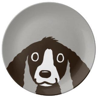 長い耳犬 磁器プレート