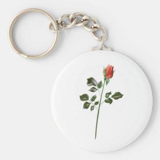 長い茎の赤いバラ キーホルダー